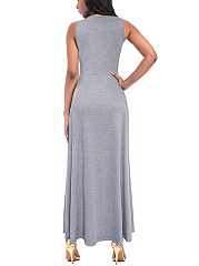 Summmer Round Neck Plain Sleeveless Maxi Dress