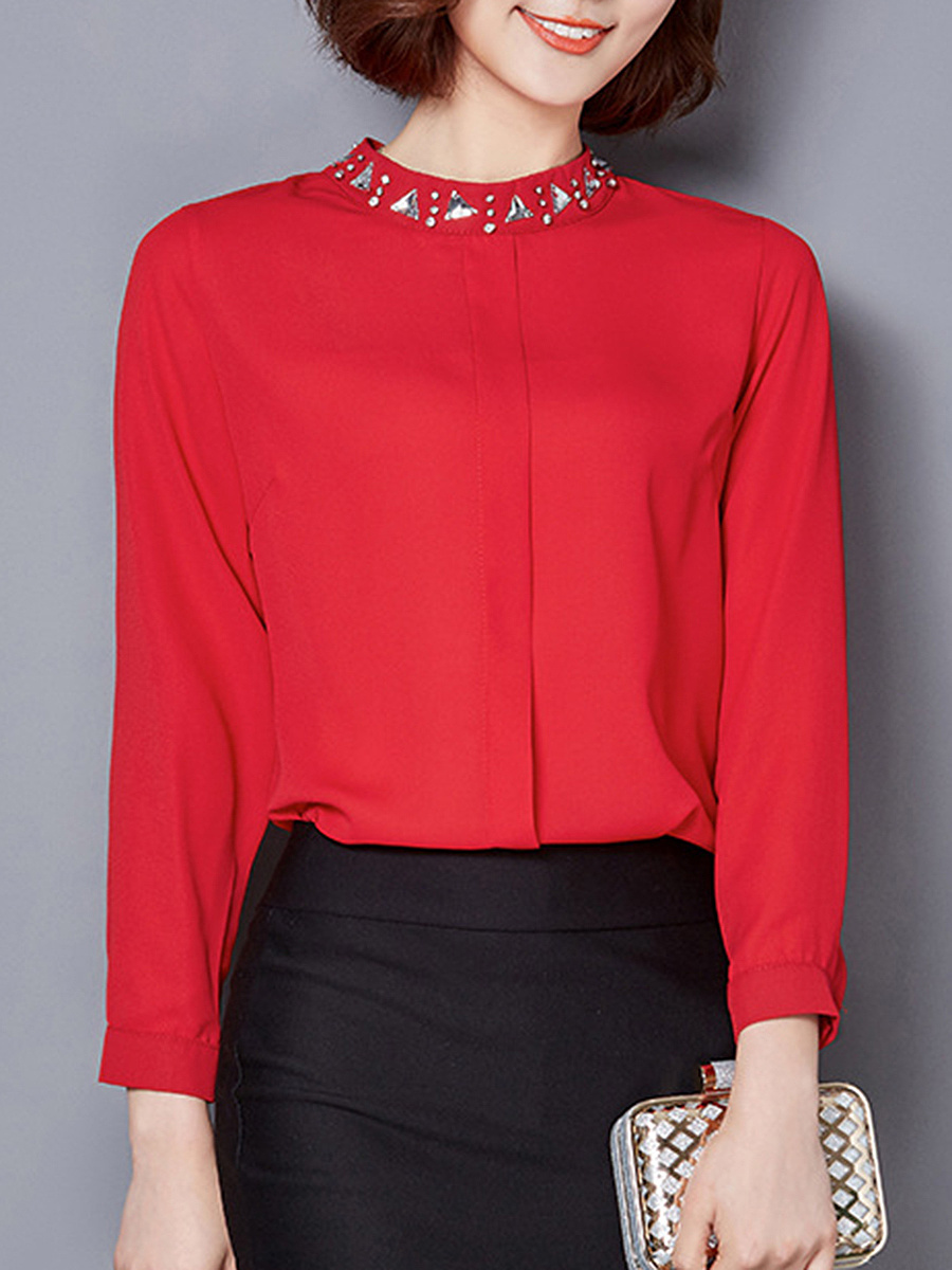 Band Collar  Beading  Plain Blouse