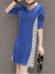 Round Neck  Striped Mini Bodycon Dress