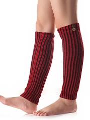 Striped Knit Color Block Leg Warmers