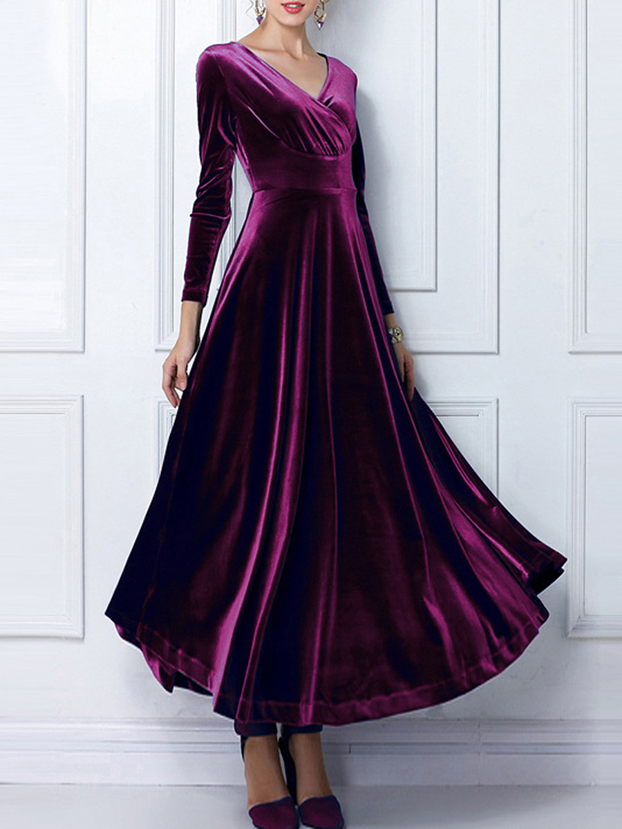 V-Neck Plain Empire Velvet Maxi Dress