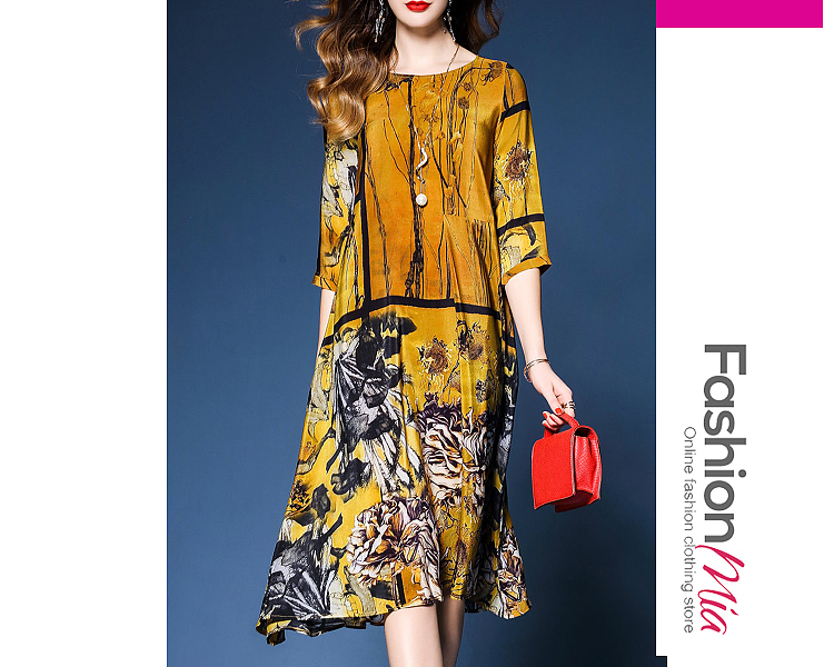 thickness:regular, brand_name:fashionmia, down_content:100%, style:fashion, material:polyester, collar&neckline:round neck, sleeve:short sleeve, pattern_type:printed, length:calf-length, how_to_wash:cold  hand wash, supplementary_matters:accessory is excluded., occasion:date, season:spring,summer, dress_silhouette:shift, package_included:dress*1, lengthshouldersleeve lengthbust