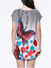 Round Neck Mini Shift Dress In Butterfly Printed