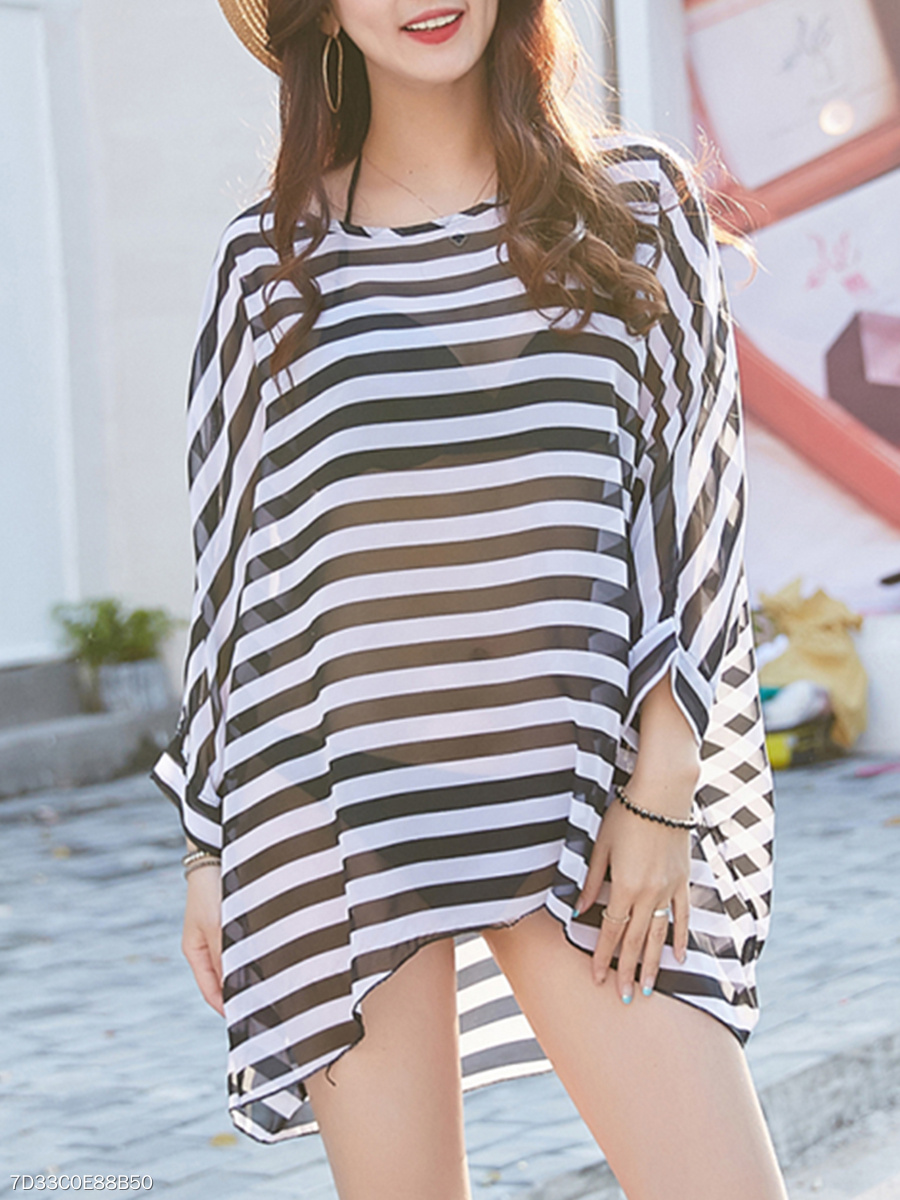 Round Neck See-Through Striped Batwing Sleeve Tunic