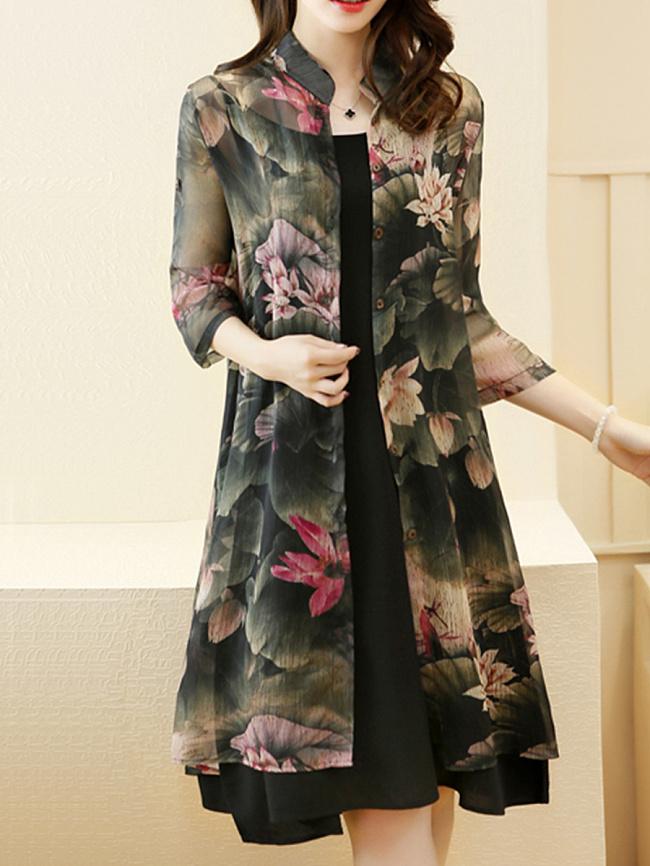 Image of Fashionmia Casual Lotus Printed Chiffon Two-Piece Shift Dress