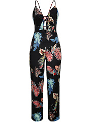 Spaghetti Strap Backless Bowknot Hollow Out Printed Fantastic Wide-Leg Jumpsuit