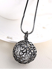 Hollow Out Rhinestone Ball Long Necklace
