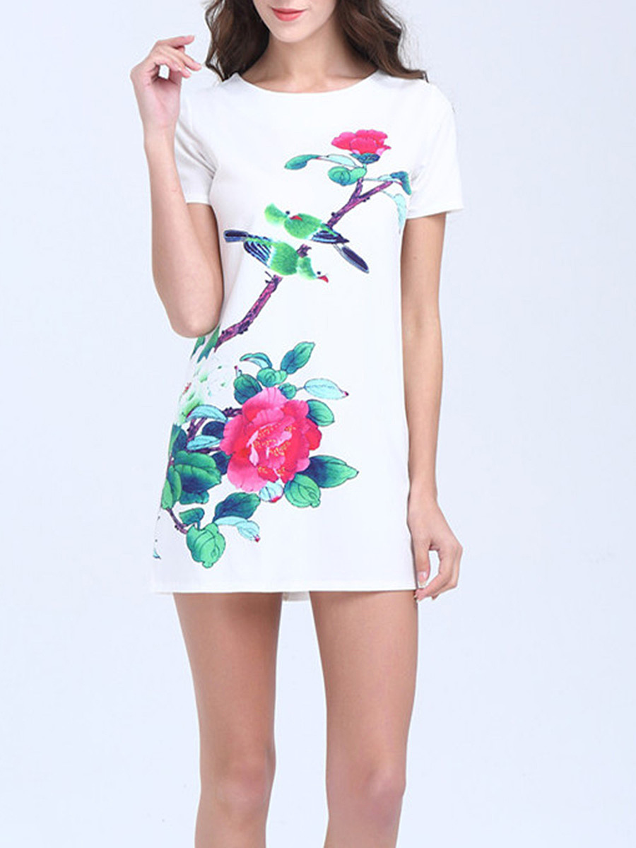 Awesome Round Neck Floral Printed Shift Dress