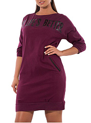 Round Neck  Letters Plain Plus Size Bodycon Dresses