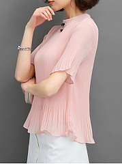 Band Collar  Plain Pleated Chiffon Blouse