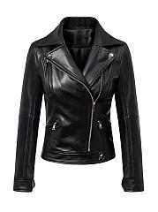 Lapel-Zips-Plain-Leather-Biker-Jackets
