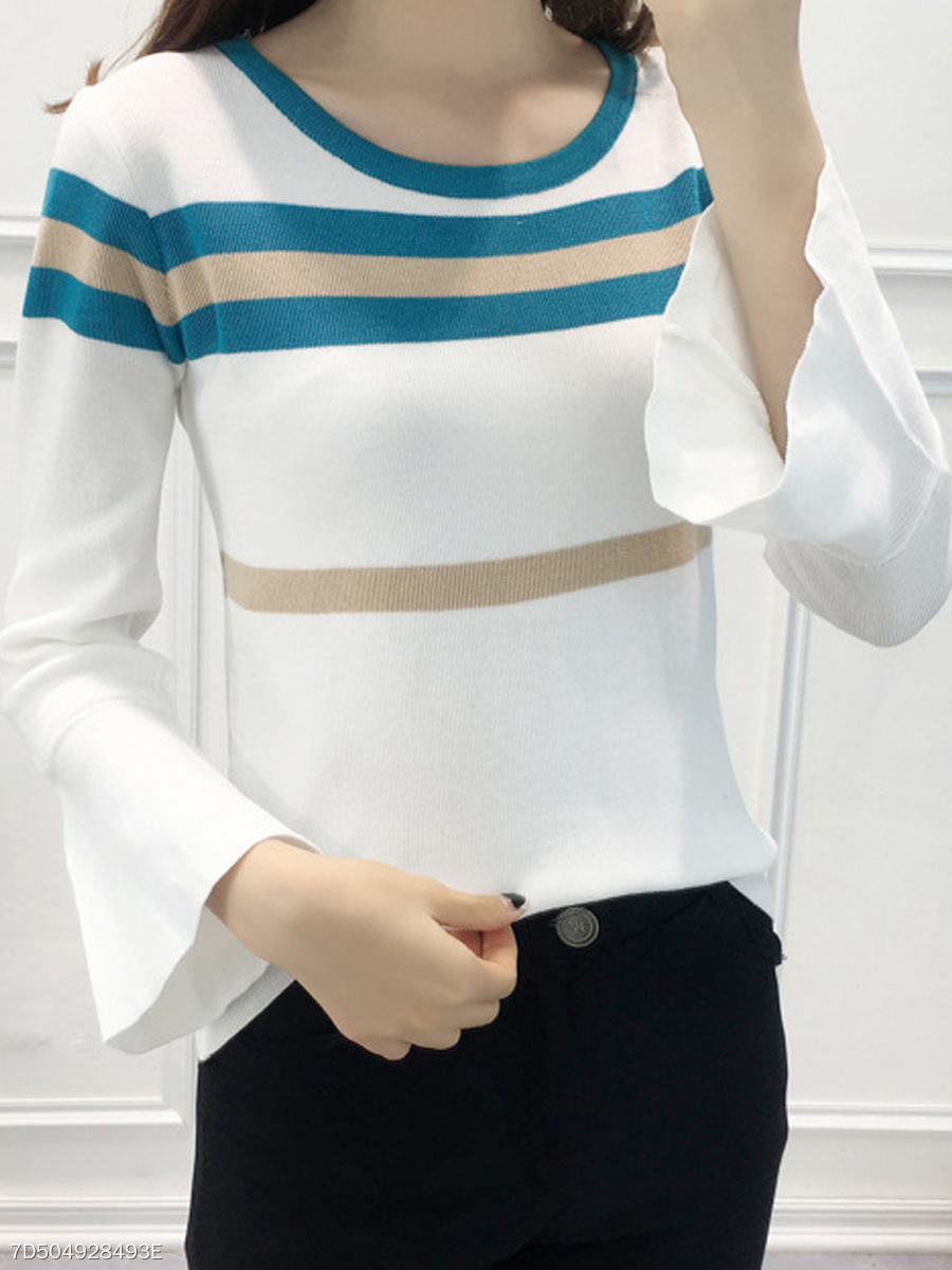 Round Neck  Contrast Piping  Striped  Bell Sleeve  Long Sleeve Sweaters Pullover