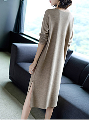 Round Neck  Slit  Plain Basic Maxi Dress