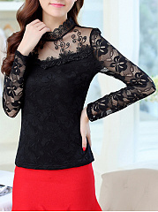 Band Collar Lace See-Through Plain Blouse