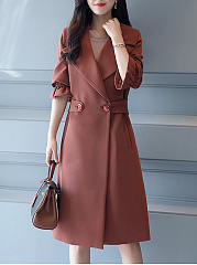 Lapel Plain Longline Pocket Trench Coat