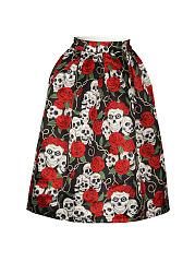 Skull-Floral-Printed-Flared-Midi-Skirt