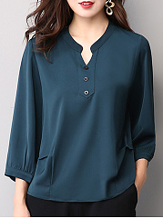 Autumn Spring  Women  Single Breasted  Decorative Button  Plain  Long Sleeve Blouses