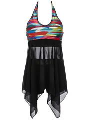 Halter-Asymmetric-Hem-Patchwork-Printed-Swimwear