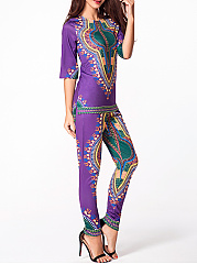Round Neck Printed Top And Elastic Waist Printed Mid-rise Pant