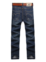 Ripped Patch Pocket Straight Men's Jeans