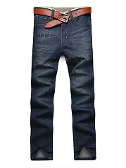 Ripped-Patch-Pocket-Straight-Mens-Jeans