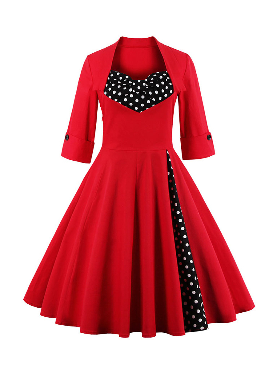 Sweet Heart  Bowknot  Polka Dot Plus Size Flared Dress