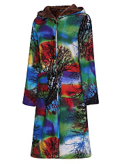 Hooded  Single Breasted Zips  Abstract Print  Long Sleeve Outerwear
