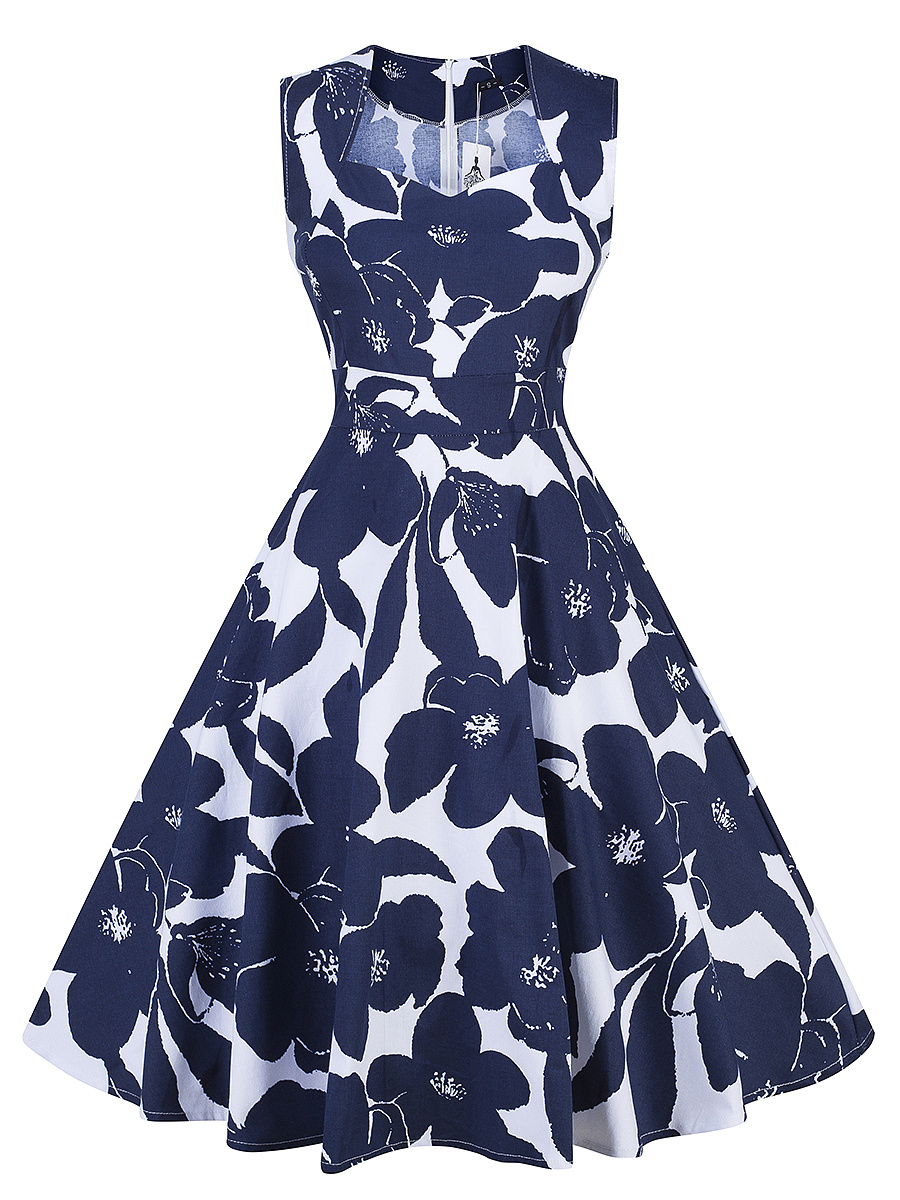 Elegant Sweet Heart Floral Printed Skater Dress