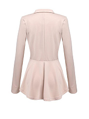 Notch Lapel  Ruffled Hem  Decorative Button  Plain Blazer