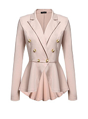 Notch Lapel  Ruffled Hem  Decorative Button  Plain  Long Sleeve Blazers