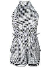 Halter-Drawstring-Tassel-Geometric-Backless-Romper