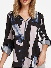 V Neck  Loose Fitting Zipper  Print Blouses