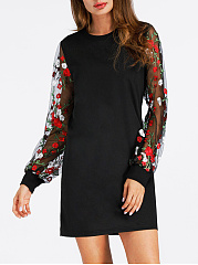 Round Neck See-Through Floral Embroidery Shift Dress