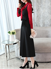 Tie Collar Bowknot Pocket Color Block Maxi Dress