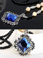 Crystal Pendant Beads Long Necklace