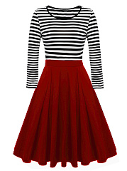 Round Neck  Color Block Colouring Striped Skater Dress