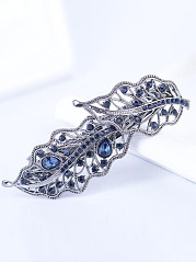 Stylish Elegant Leaves Rhinestone Hair Clip