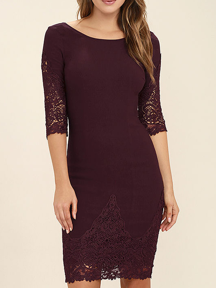 Round Neck Hollow Out Plain Bodycon Dress