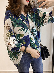 Autumn Spring  Polyester  Women  Printed  Long Sleeve Blouses