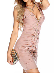 Deep V-Neck  Zips  Plain Bodycon Dress