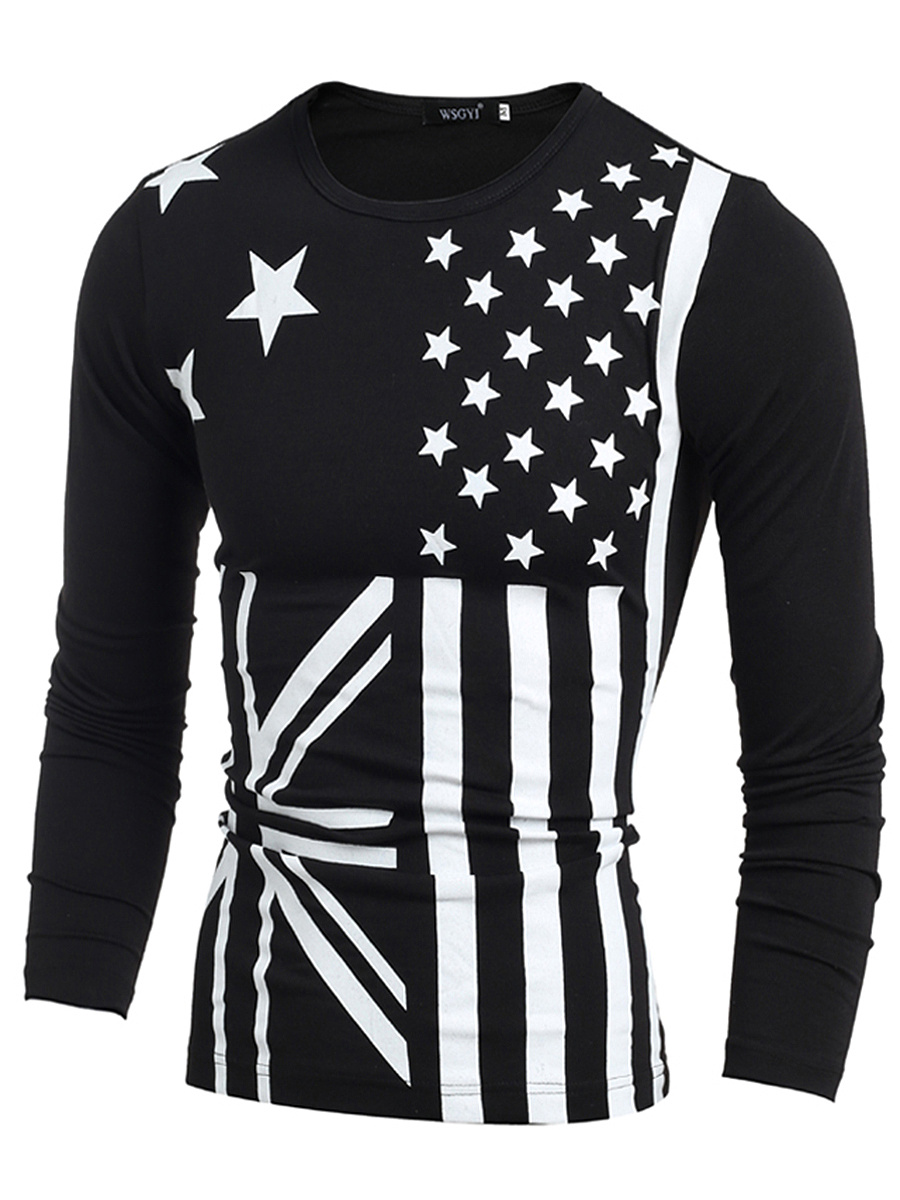 Round Neck Flag Printed Men Long Sleeve T-Shirt