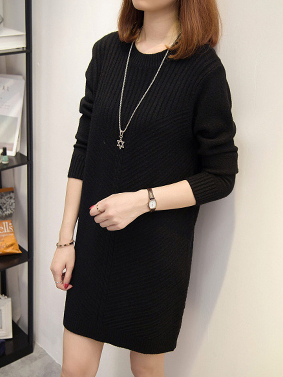 Loose Round Neck Plain Knitted Dress