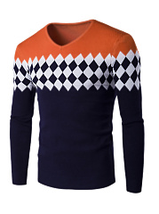 V-Neck Color Block Plaid MenS Sweater