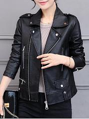 Lapel-Zips-Plain-PU-Leather-Jacket