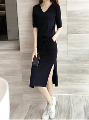 V-Neck  Drawstring  Plain Shift Dress