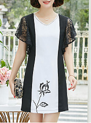 Round Neck  Decorative Lace  Colouring Printed Shift Dress