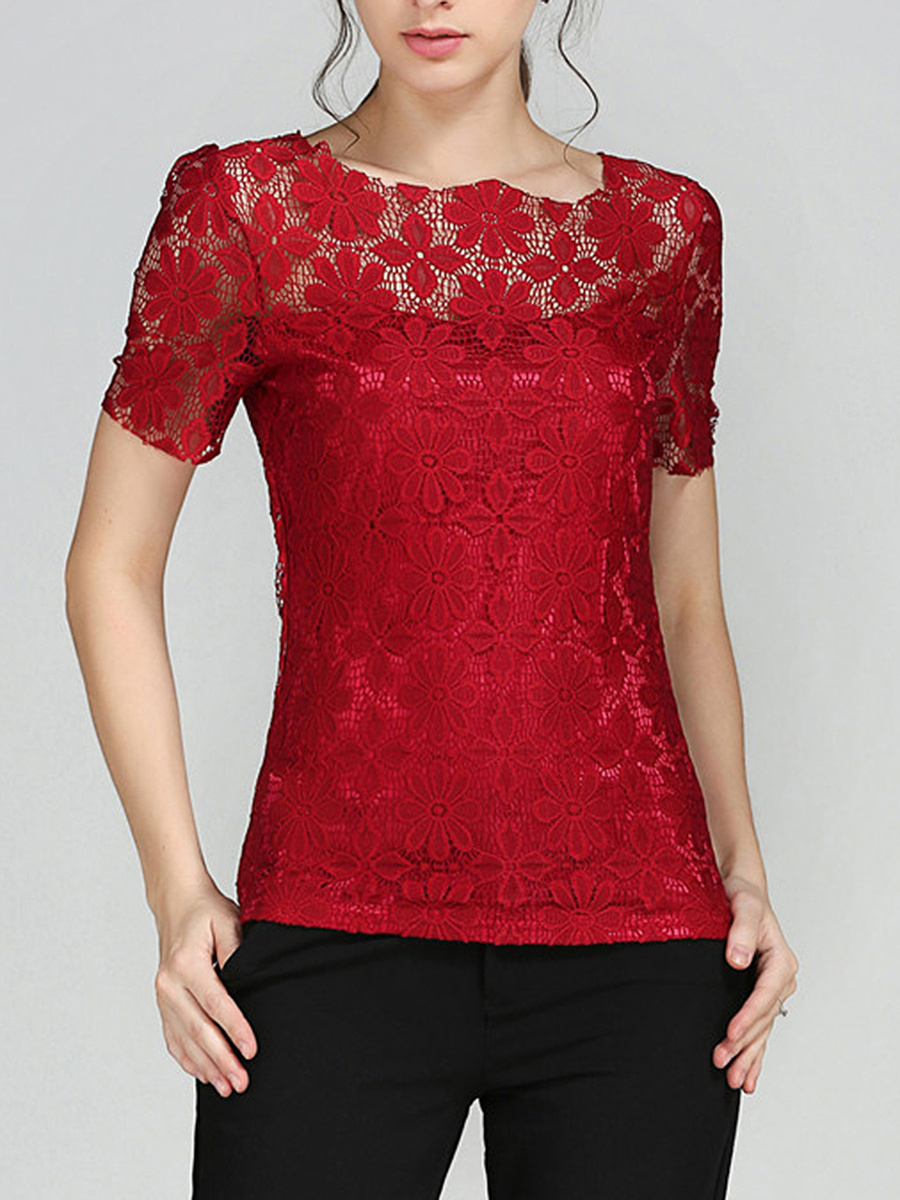Lace Hollow Out Plain Blouse