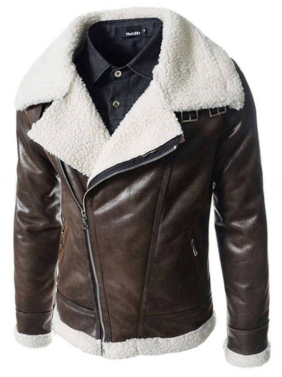 Men Lapel Zips Pocket PU Leather Coat