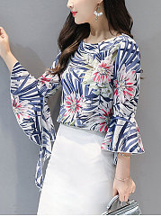 Spring Summer  Blend  Women  Round Neck  Printed  Bell Sleeve  Three-Quarter Sleeve Blouses