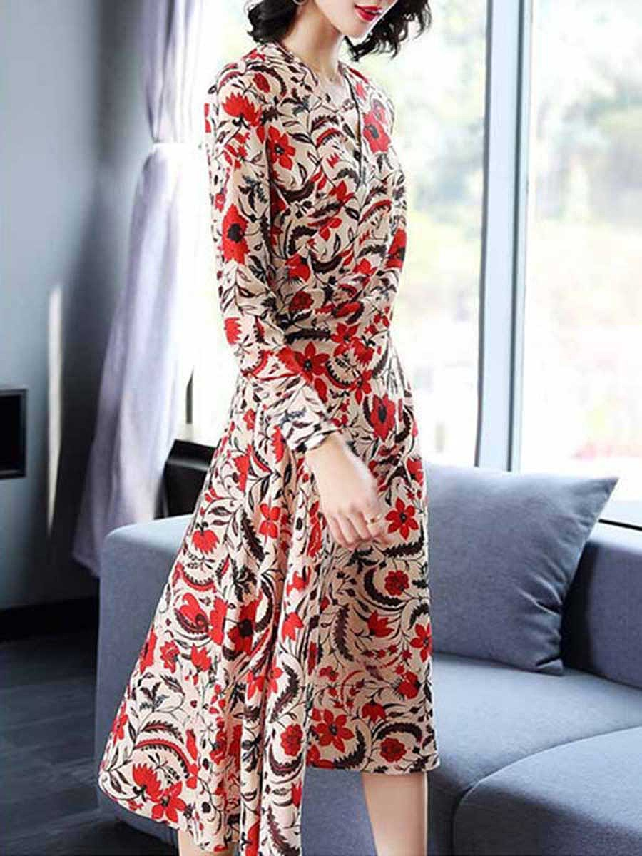 Surplice  Printed  Polyester Maxi Dress
